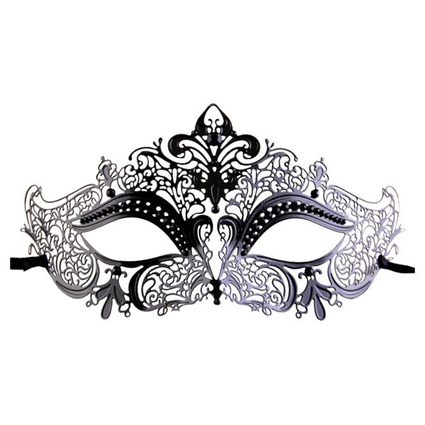 BLACK Series Women's Laser Cut Metal Venetian Masquerade Crown Mask - Luxury Mask - 1