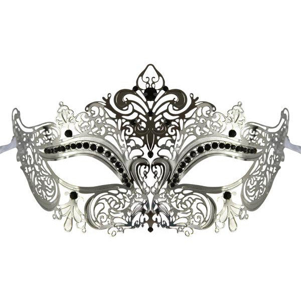 Silver Series Women's Laser Cut Metal Venetian Masquerade Crown Mask - Luxury Mask - 1