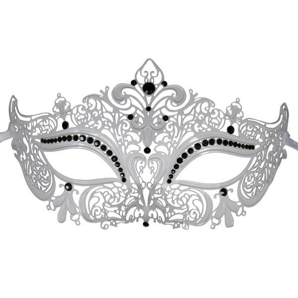 WHITE Series Women's Laser Cut Metal Venetian Masquerade Crown Mask - Luxury Mask - 1