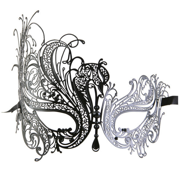 BLACK Series Swan Metal Filigree Laser Cut Womens Masquerade Mask - Luxury Mask - 1