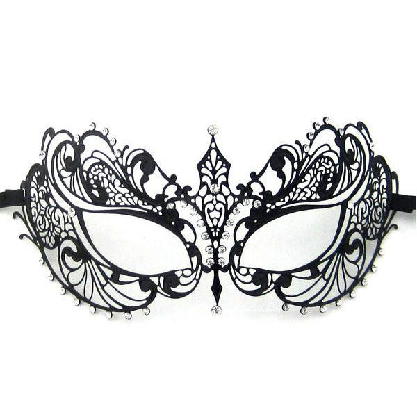 BLACK Series Laser Cut Metal Venetian Pretty Masquerade Mask - Luxury Mask - 1