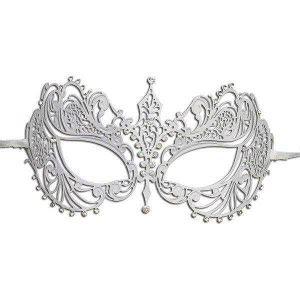 WHITE Series Laser Cut Metal Venetian Pretty Masquerade Mask - Luxury Mask - 1