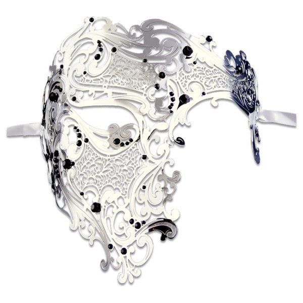 SILVER Series Signature Phantom Of The Opera Half Face Mask - Luxury Mask - 1