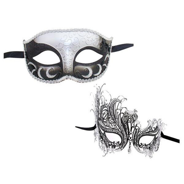 Couple's SWAN Masquerade Mask Set BLACK SILVER - Luxury Mask