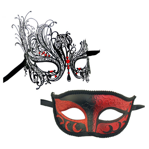 Couple's SWAN Masquerade Mask Set Black Red Stones - Luxury Mask