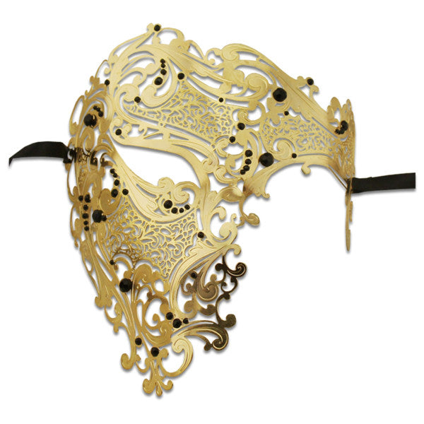 GOLD Series Signature Phantom Of The Opera Half Face Mask - Luxury Mask - 1