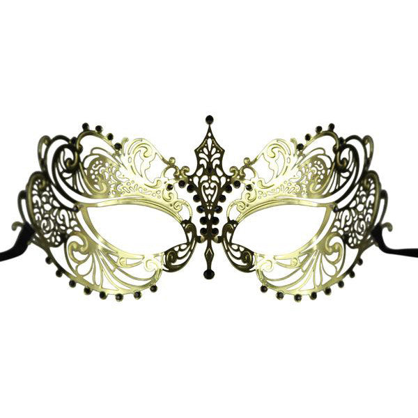 GOLD Series Laser Cut Metal Venetian Pretty Masquerade Mask - Luxury Mask - 1