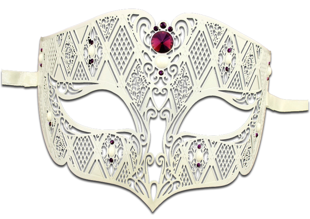 WHITE Series Diamond Design Laser Cut Venetian Masquerade Mask - Luxury Mask - 5