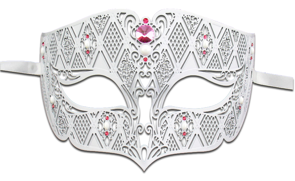 WHITE Series Diamond Design Laser Cut Venetian Masquerade Mask - Luxury Mask - 6