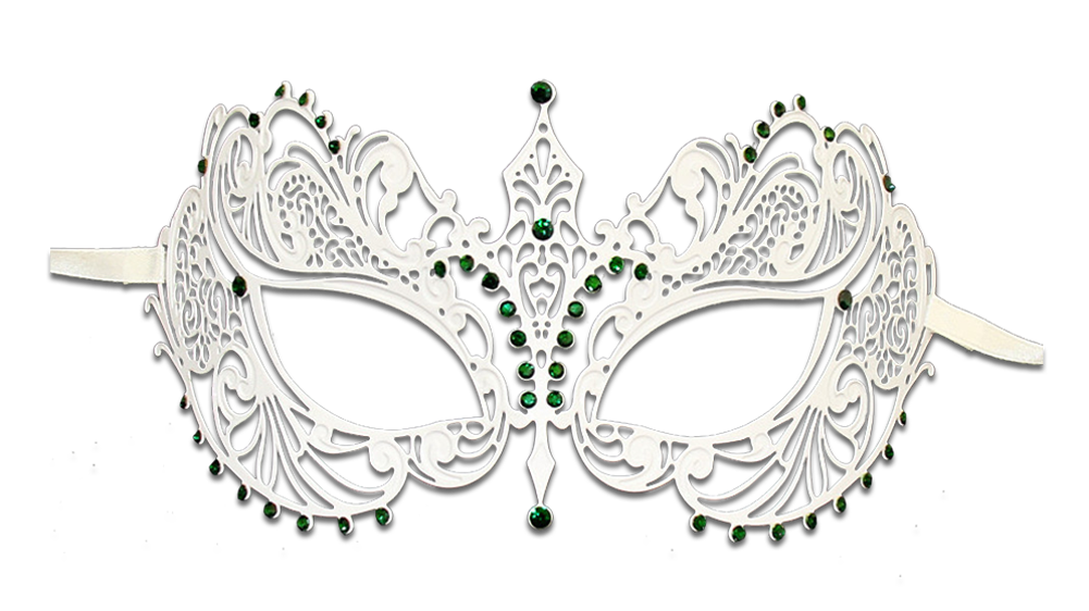 WHITE Series Laser Cut Metal Venetian Pretty Masquerade Mask - Luxury Mask - 6