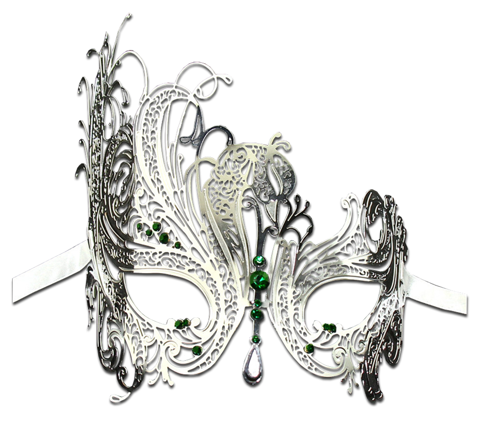 SILVER Series Swan Metal Filigree Laser Cut Venetian Masquerade Mask - Luxury Mask - 7