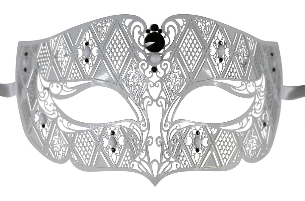 WHITE Series Diamond Design Laser Cut Venetian Masquerade Mask - Luxury Mask - 2