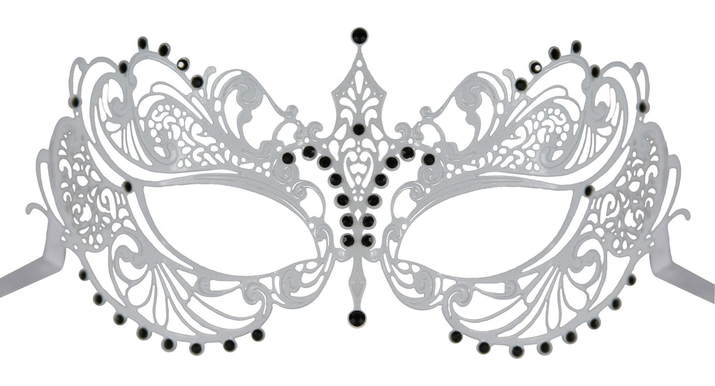 WHITE Series Laser Cut Metal Venetian Pretty Masquerade Mask - Luxury Mask - 7