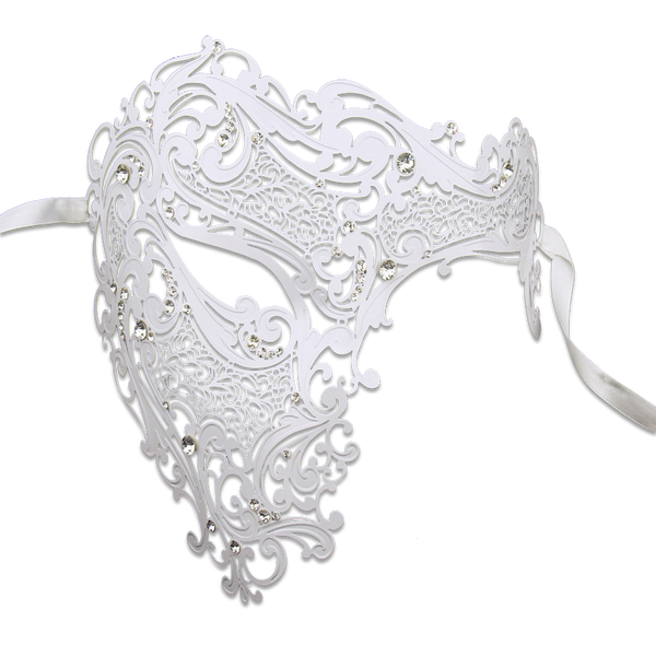 WHITE Series Signature Phantom Of The Opera Half Face Mask - Luxury Mask - 1