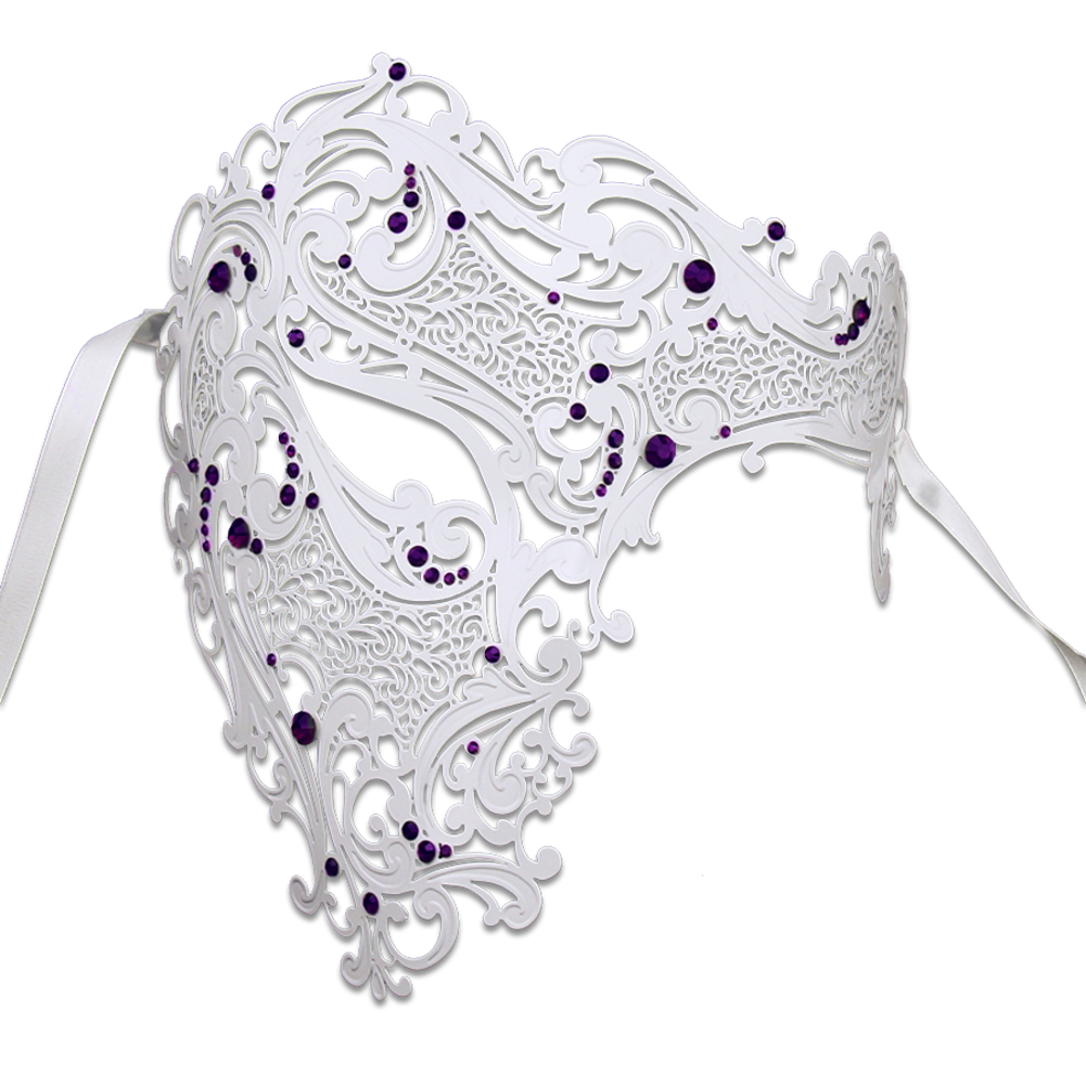 WHITE Series Signature Phantom Of The Opera Half Face Mask - Luxury Mask - 4