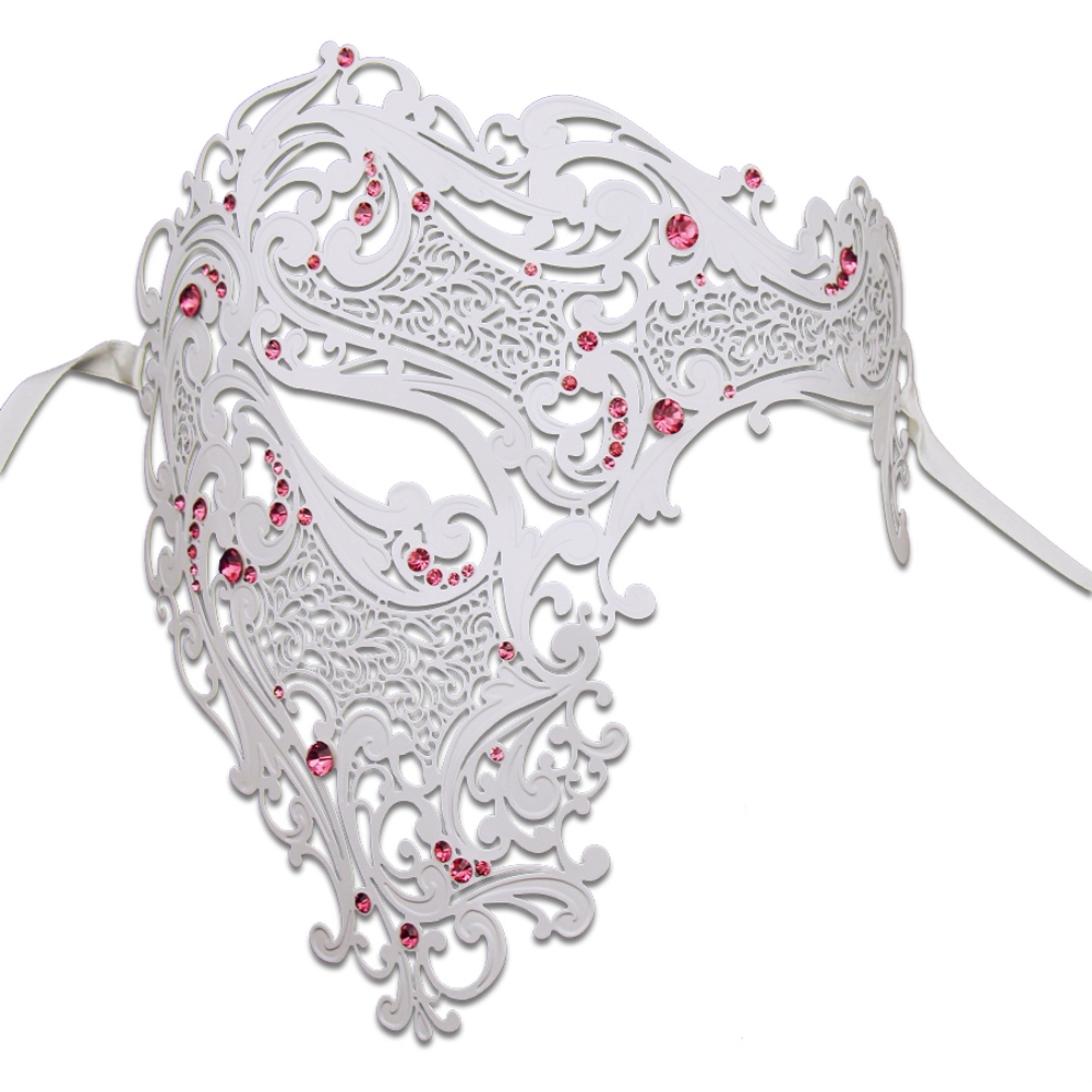 WHITE Series Signature Phantom Of The Opera Half Face Mask - Luxury Mask - 5