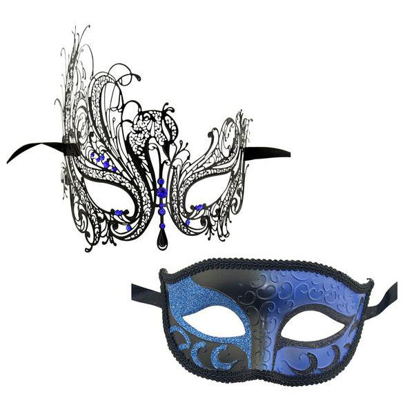 Couple's SWAN Masquerade Mask Set Black with Blue Stones - Luxury Mask