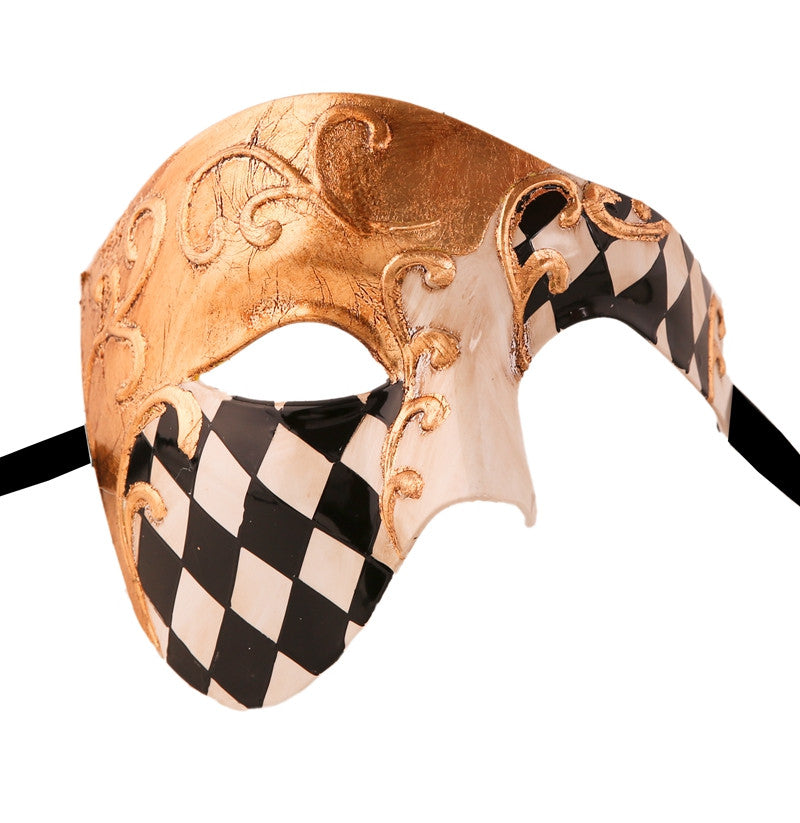 CHECKRED Series Vintage Phantom Of The Opera Half Face Masquerade Mask - Luxury Mask - 1