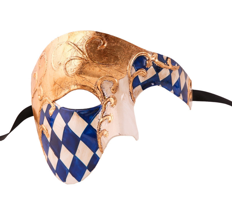CHECKRED Series Vintage Phantom Of The Opera Half Face Masquerade Mask - Luxury Mask - 4