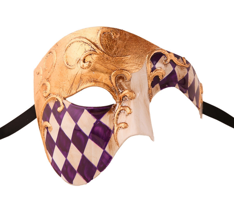 CHECKRED Series Vintage Phantom Of The Opera Half Face Masquerade Mask - Luxury Mask - 5