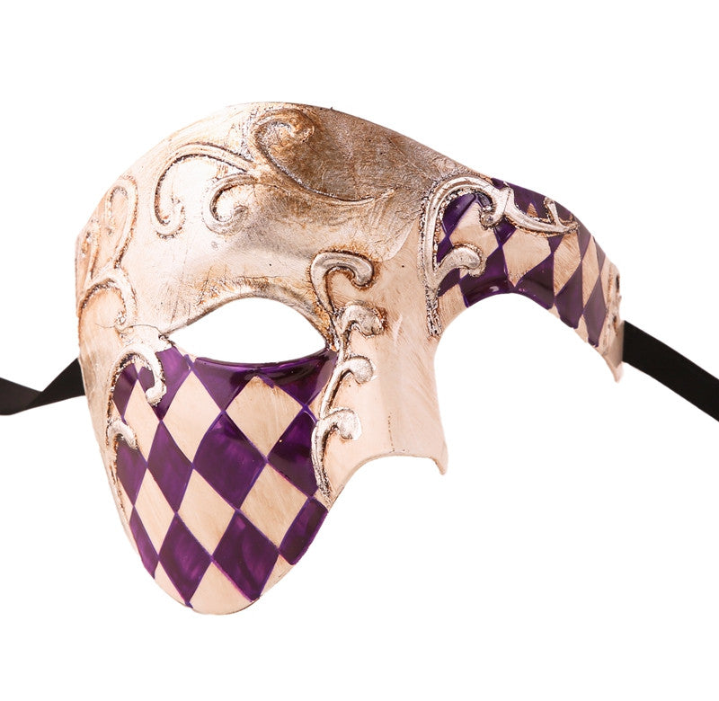 CHECKRED Series Vintage Phantom Of The Opera Half Face Masquerade Mask - Luxury Mask - 6