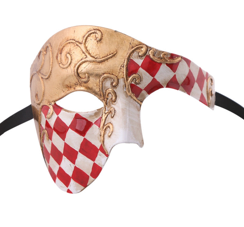 CHECKRED Series Vintage Phantom Of The Opera Half Face Masquerade Mask - Luxury Mask - 7