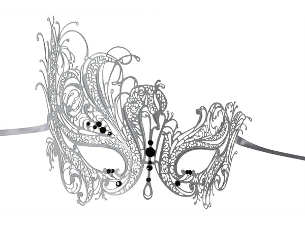 WHITE Series Swan Metal Filigree Laser Cut Venetian Masquerade Mask - Luxury Mask - 1