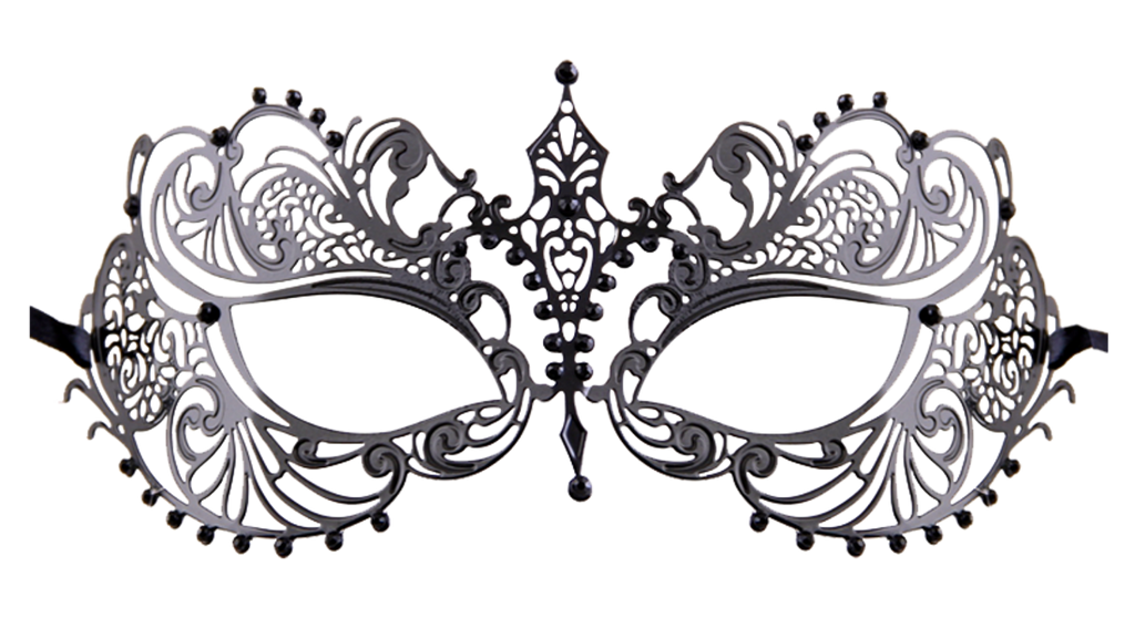 BLACK Series Laser Cut Metal Venetian Pretty Masquerade Mask - Luxury Mask - 7