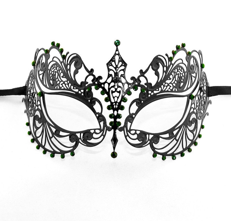 BLACK Series Laser Cut Metal Venetian Pretty Masquerade Mask - Luxury Mask - 6