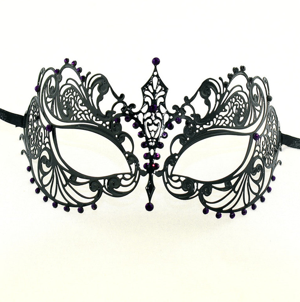 BLACK Series Laser Cut Metal Venetian Pretty Masquerade Mask - Luxury Mask - 5