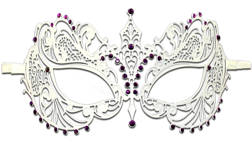 WHITE Series Laser Cut Metal Venetian Pretty Masquerade Mask - Luxury Mask - 5