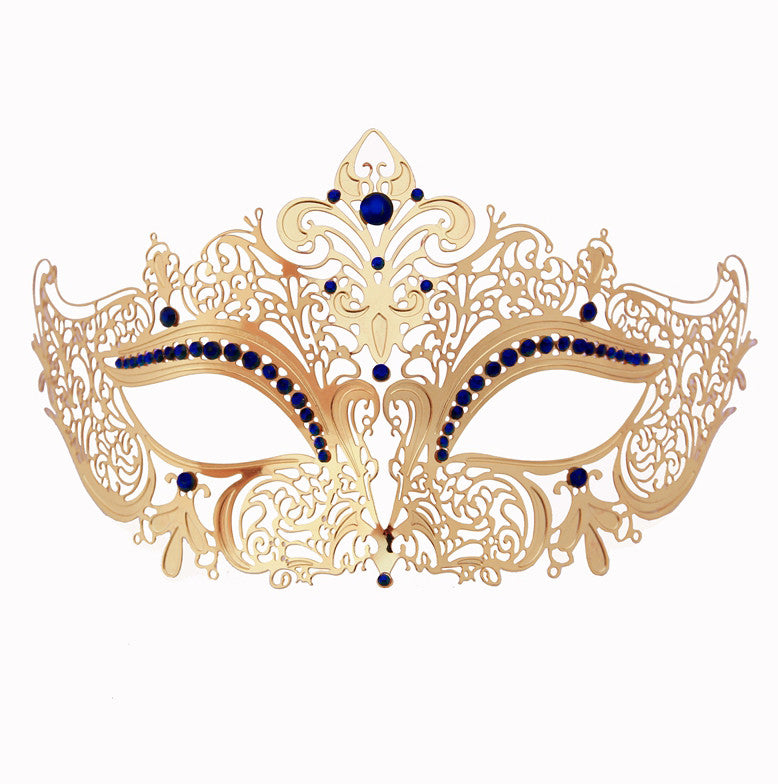 GOLD Series Women's Laser Cut Metal Venetian Masquerade Crown Mask - Luxury Mask - 4