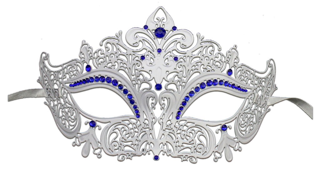 WHITE Series Women's Laser Cut Metal Venetian Masquerade Crown Mask - Luxury Mask - 4