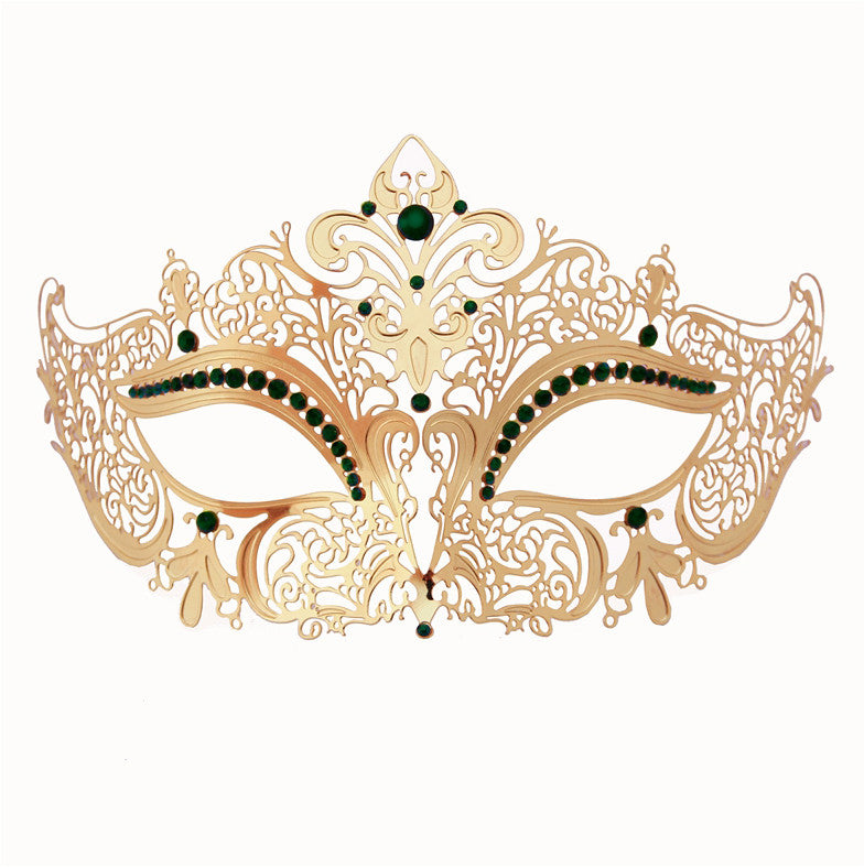 GOLD Series Women's Laser Cut Metal Venetian Masquerade Crown Mask - Luxury Mask - 7