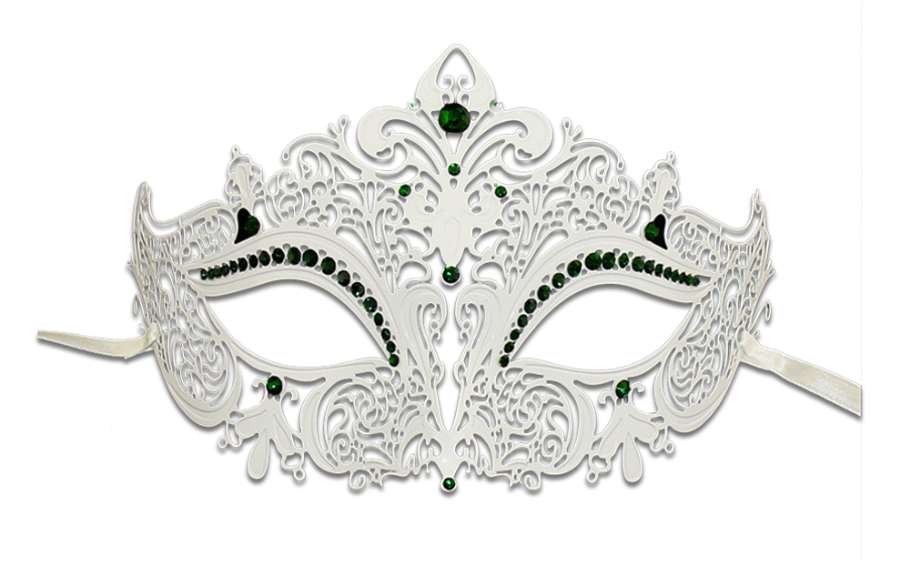 WHITE Series Women's Laser Cut Metal Venetian Masquerade Crown Mask - Luxury Mask - 7