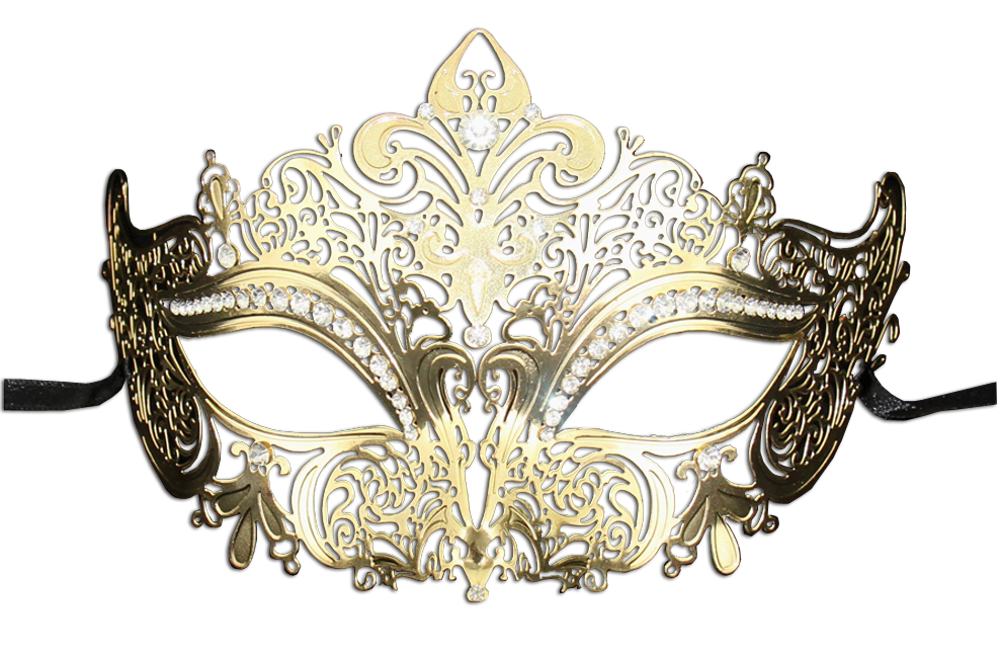 GOLD Series Women's Laser Cut Metal Venetian Masquerade Crown Mask - Luxury Mask - 2
