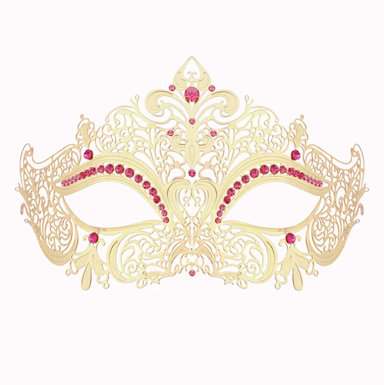 GOLD Series Women's Laser Cut Metal Venetian Masquerade Crown Mask - Luxury Mask - 6
