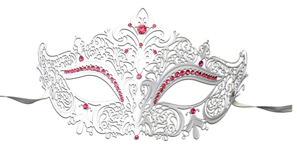 WHITE Series Women's Laser Cut Metal Venetian Masquerade Crown Mask - Luxury Mask - 5