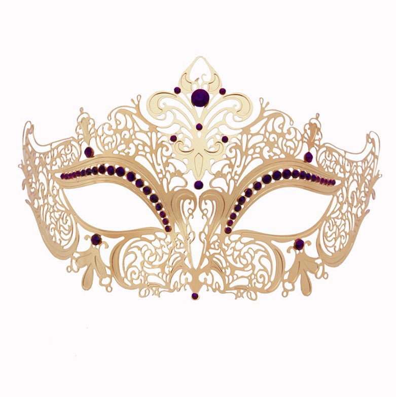 GOLD Series Women's Laser Cut Metal Venetian Masquerade Crown Mask - Luxury Mask - 5