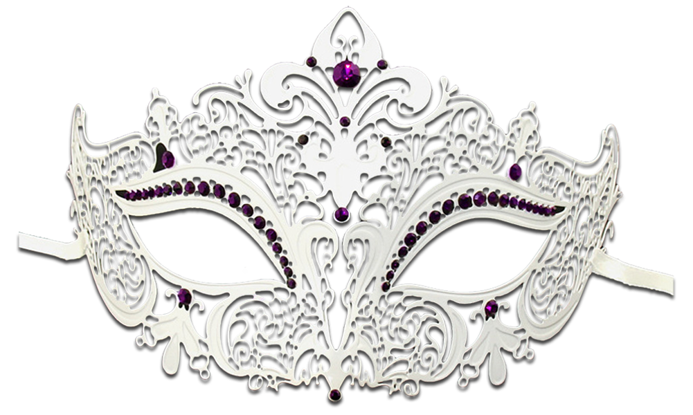 WHITE Series Women's Laser Cut Metal Venetian Masquerade Crown Mask - Luxury Mask - 6