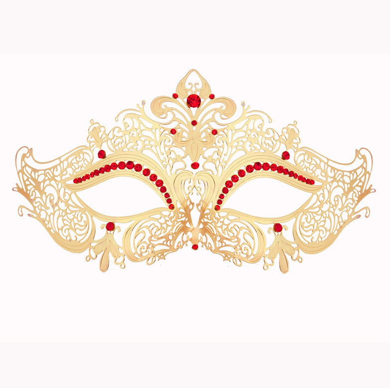 GOLD Series Women's Laser Cut Metal Venetian Masquerade Crown Mask - Luxury Mask - 3