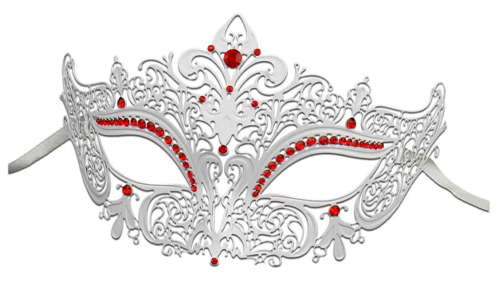 WHITE Series Women's Laser Cut Metal Venetian Masquerade Crown Mask - Luxury Mask - 3