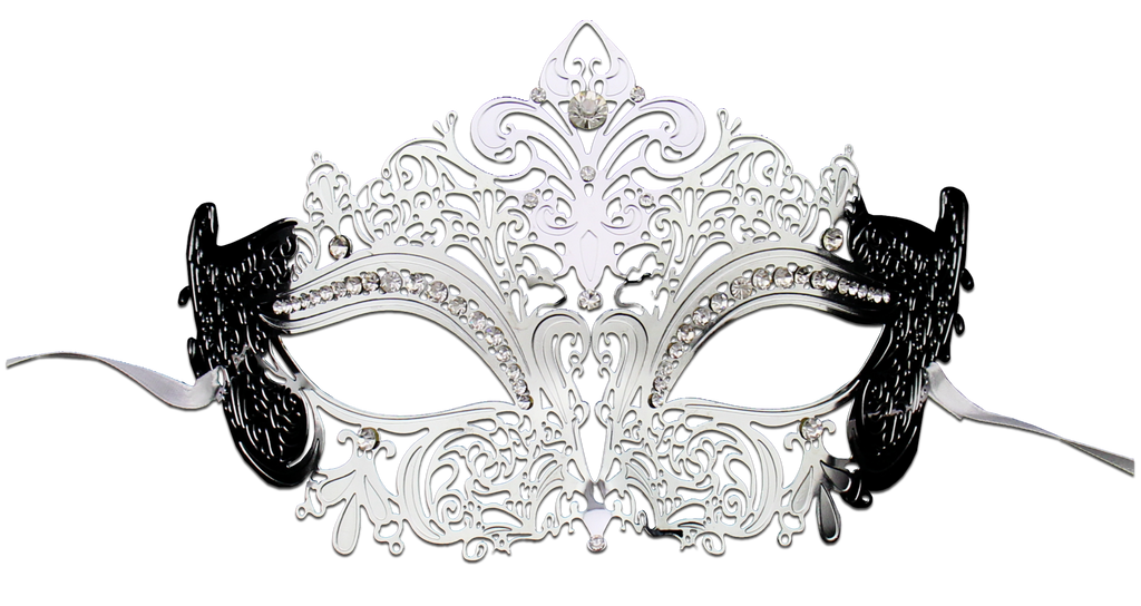 Silver Series Women's Laser Cut Metal Venetian Masquerade Crown Mask - Luxury Mask - 2