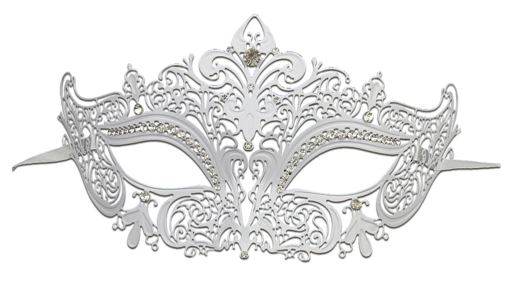 WHITE Series Women's Laser Cut Metal Venetian Masquerade Crown Mask - Luxury Mask - 2