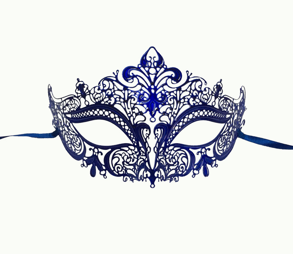 BLUE Women's Laser Cut Metal Venetian Masquerade Crown Mask - Luxury Mask
