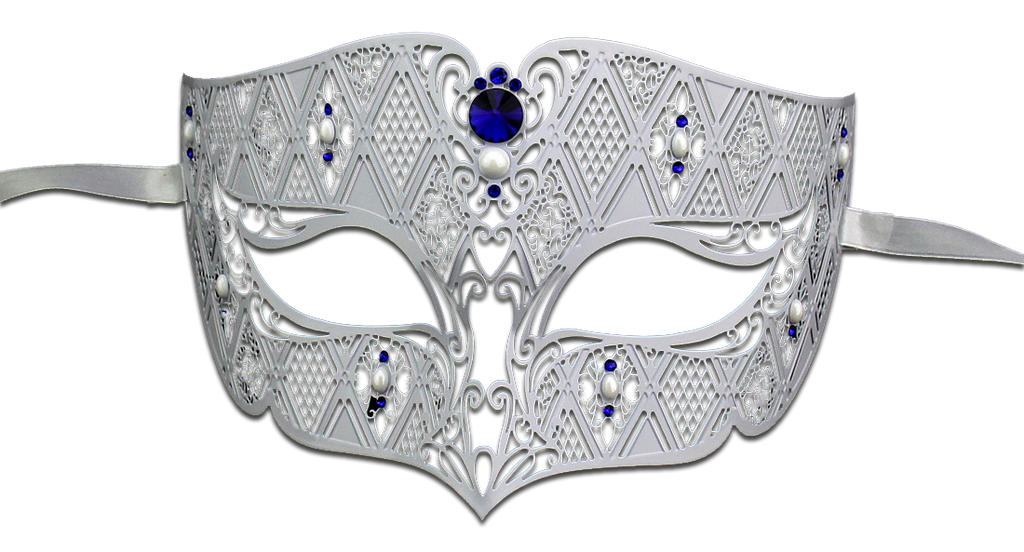 WHITE Series Diamond Design Laser Cut Venetian Masquerade Mask - Luxury Mask - 4