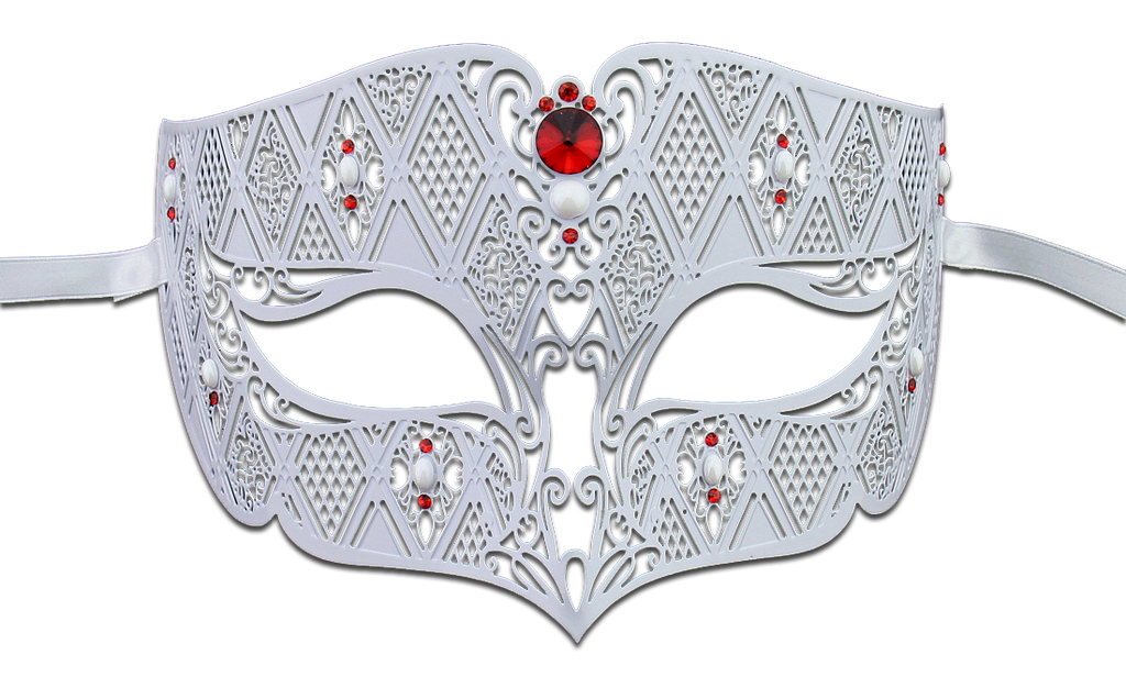 WHITE Series Diamond Design Laser Cut Venetian Masquerade Mask - Luxury Mask - 3
