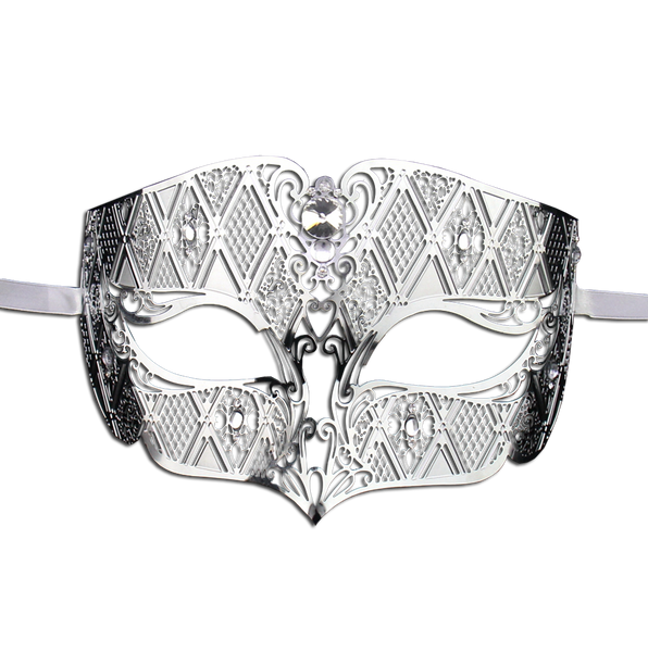 SILVER Series Diamond Design Laser Cut Venetian Masquerade Mask - Luxury Mask - 1