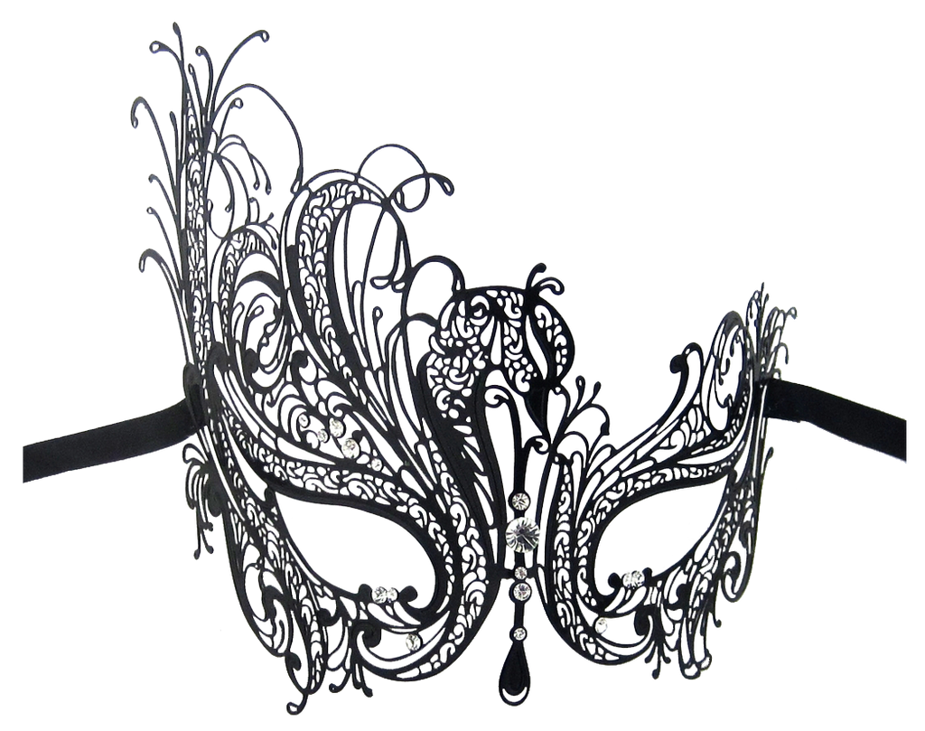 BLACK Series Swan Metal Filigree Laser Cut Womens Masquerade Mask - Luxury Mask - 2