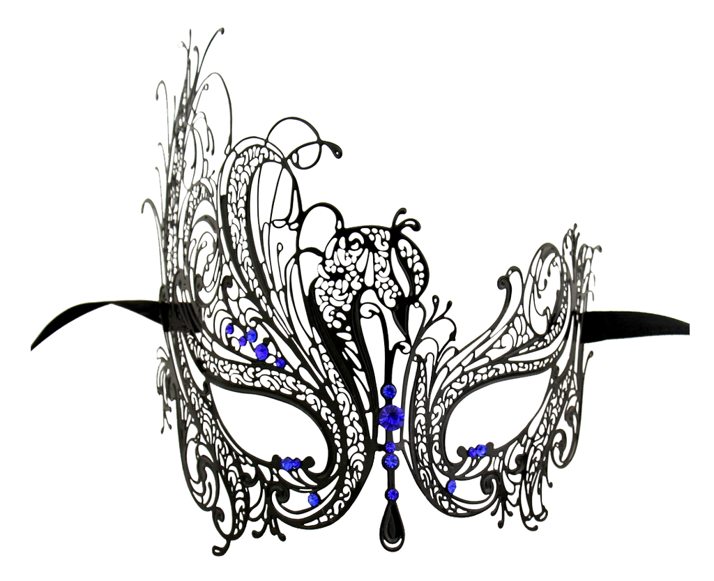 BLACK Series Swan Metal Filigree Laser Cut Womens Masquerade Mask - Luxury Mask - 4